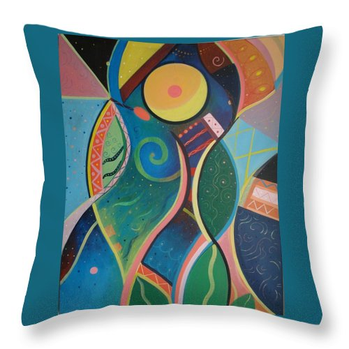 Abstract Throw Pillow featuring the painting Cosmic Carnival V Aka The Dance by Helena Tiainen