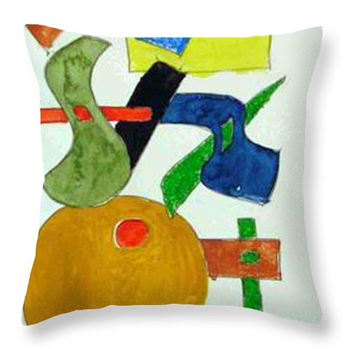 Watercolor Throw Pillow featuring the mixed media Cosmic Collaboration by Natalee Parochka