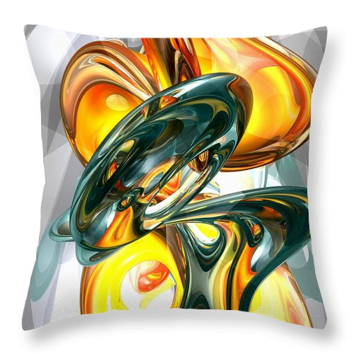 3d Throw Pillow featuring the digital art Cosmic Flame Abstract by Alexander Butler