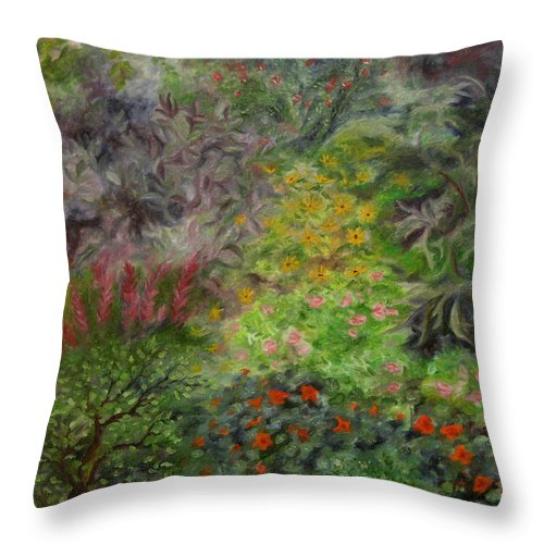 Colorful Throw Pillow featuring the painting Cosmic Garden by FT McKinstry