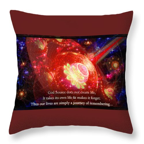 Corporate Throw Pillow featuring the mixed media Cosmic Inspiration God Source 2 by Shawn Dall