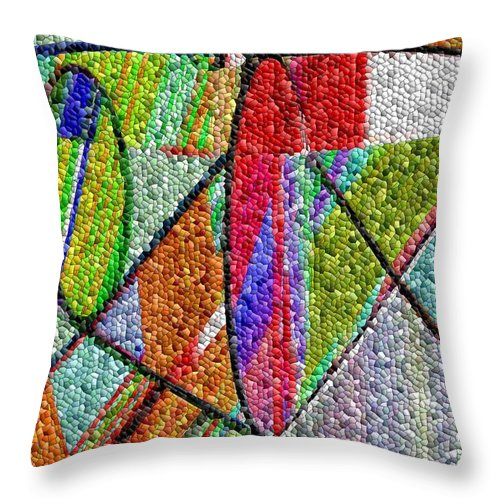 Life Throw Pillow featuring the digital art Cosmic Lifeways Mosaic by Helmut Rottler