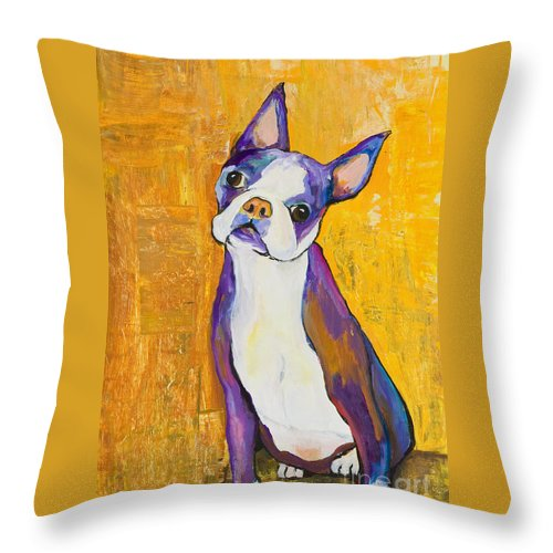 Boston Terrier Animals Acrylic Dog Portraits Pet Portraits Animal Portraits Pat Saunders-white Throw Pillow featuring the painting Cosmo by Pat Saunders-White