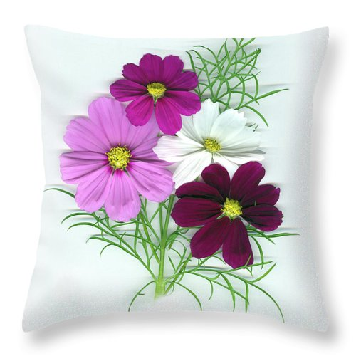 Cosmos Throw Pillow featuring the mixed media Cosmos Bouquet by Sandi F Hutchins