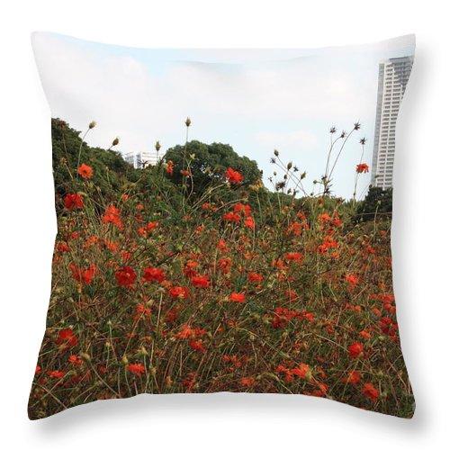 Tokyo Throw Pillow featuring the photograph Cosmos In Tokyo Garden by Carol Groenen