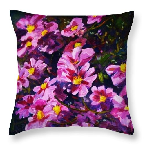 Cosmos Throw Pillow featuring the painting Cosmos by Margaret Plumb