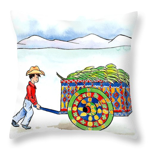 Fruit Throw Pillow featuring the mixed media Costa Rican Banana Cart by Leah Wiedemer