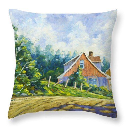 Art Throw Pillow featuring the painting Cote Ste Anne De Beaupre by Richard T Pranke