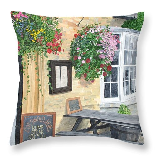 Cafe Throw Pillow featuring the painting Cotswold Arms Special by Keith Wilkie