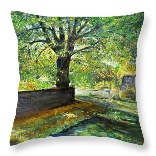 Landscape Throw Pillow featuring the painting Cotswold Lane by Lizzy Forrester