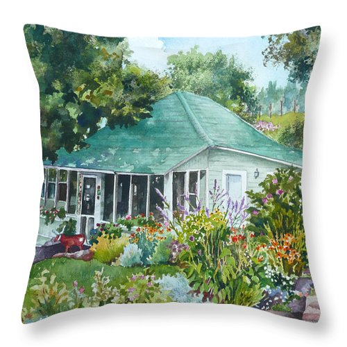 Cottage Painting Throw Pillow featuring the painting Cottage At Chautauqua by Anne Gifford