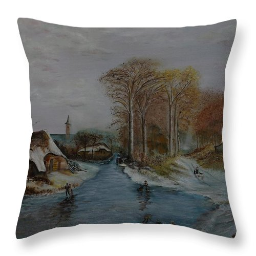 Thatched Roof Cottage Throw Pillow featuring the painting Cottage Country - Lmj by Ruth Kamenev