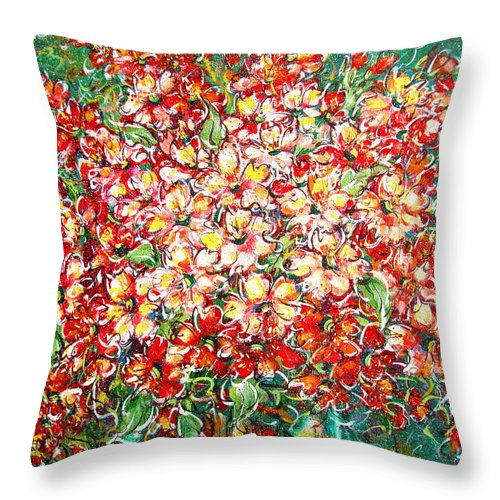 Flowers Throw Pillow featuring the painting Cottage Garden Flowers by Natalie Holland