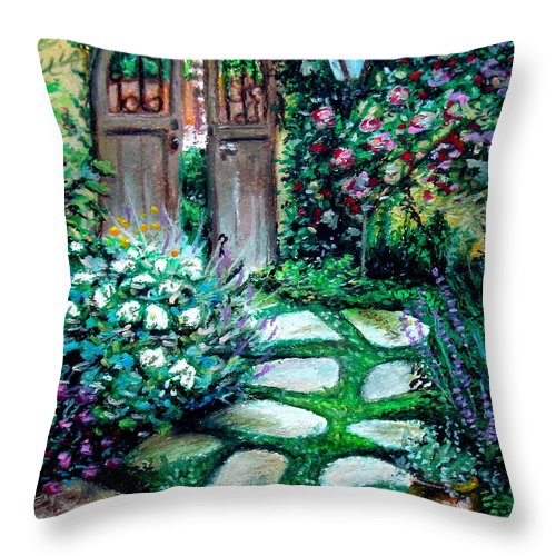 Landscape Throw Pillow featuring the pastel Cottage Gates by Elizabeth Robinette Tyndall