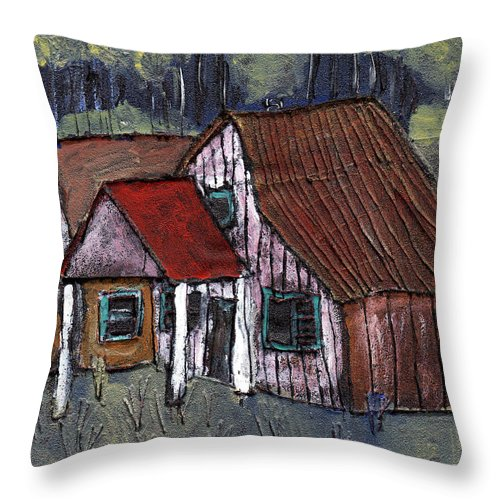 Cottage Throw Pillow featuring the painting Cottage In The Woods by Wayne Potrafka