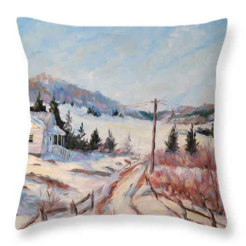 Road Throw Pillow featuring the painting Cottage Road by Richard T Pranke