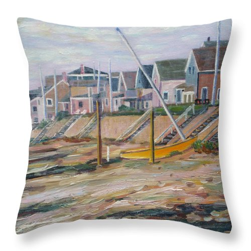 Beach Throw Pillow featuring the painting Cottages Along Moody Beach by Richard Nowak