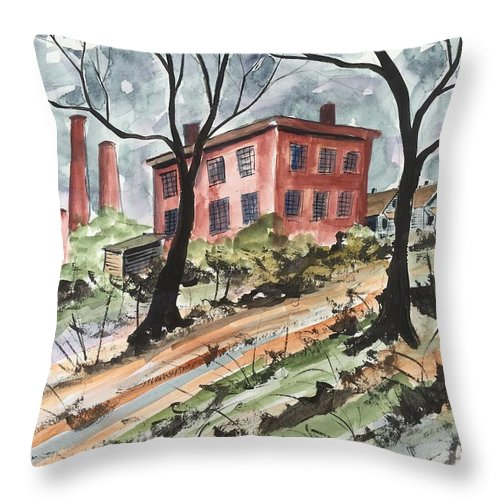 Landscape Cotton Cotton Mill Abandoned Mill Throw Pillow featuring the painting Cotton Mill by Ken Blacktop Gentle