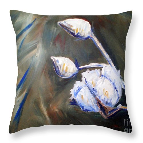 Cotton Throw Pillow featuring the painting Cotton Plant 2 by Emily Martinez