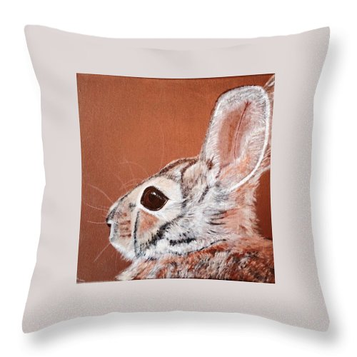 Cottontail Rabbit Throw Pillow featuring the painting Cottontail by Koni Webb Bosch