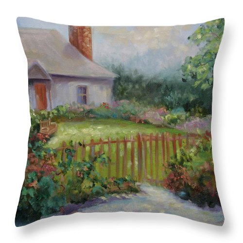 Cottswold Throw Pillow featuring the painting Cottswold Cottage by Ginger Concepcion