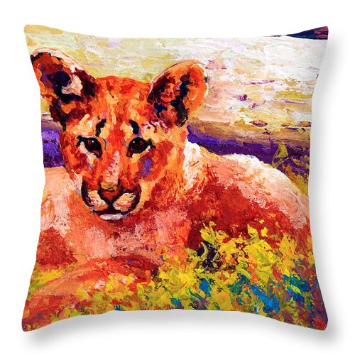 Mountain Lion Throw Pillow featuring the painting Cougar Cub by Marion Rose