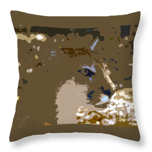Cougar Throw Pillow featuring the painting Cougar by David Lee Thompson