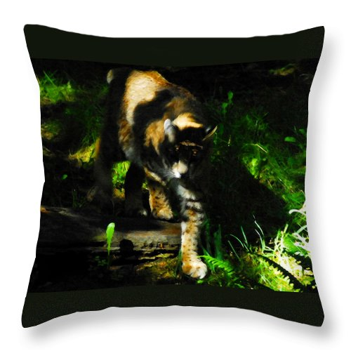 Art Throw Pillow featuring the painting Cougar Eyes by David Lee Thompson
