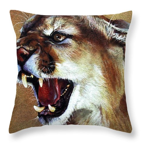 Southwest Art Throw Pillow featuring the painting Cougar by J W Baker
