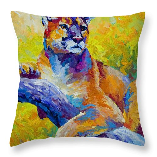 Mountain Lion Throw Pillow featuring the painting Cougar Portrait I by Marion Rose