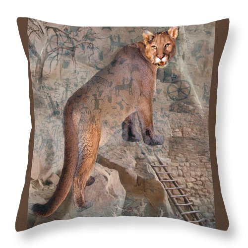 Cougar Throw Pillow featuring the photograph Cougar Rocks, Southwest Mountain Lion by Karla Beatty