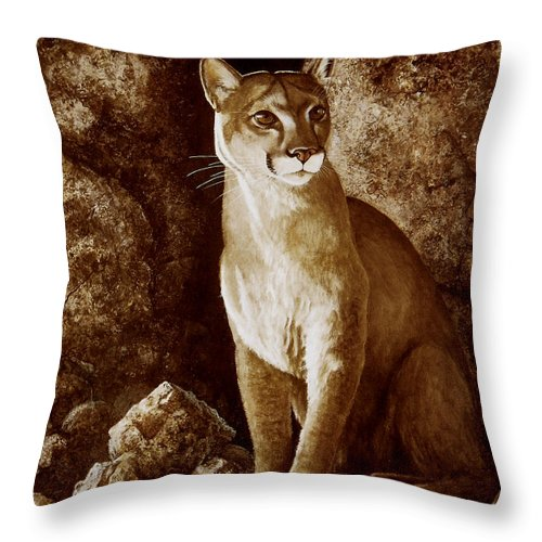 Cougar Throw Pillow featuring the painting Cougar Wait Until Dark by Frank Wilson