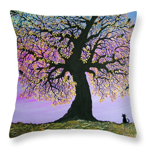 Crowes And Cat Throw Pillow featuring the painting Counting Crowes by Nick Gustafson