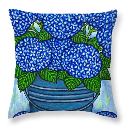 Blue Throw Pillow featuring the painting Country Blues by Lisa Lorenz