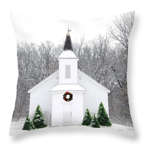 Church Throw Pillow featuring the photograph Country Christmas Church by Carol Sweetwood