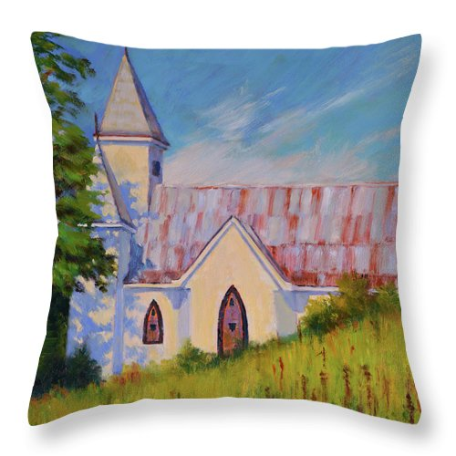 Impressionism Throw Pillow featuring the painting Country Church by Keith Burgess