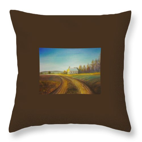 Landscape Throw Pillow featuring the painting Country Church by Scott Easom