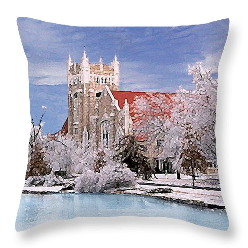 Winter Throw Pillow featuring the photograph Country Club Christian Church by Steve Karol