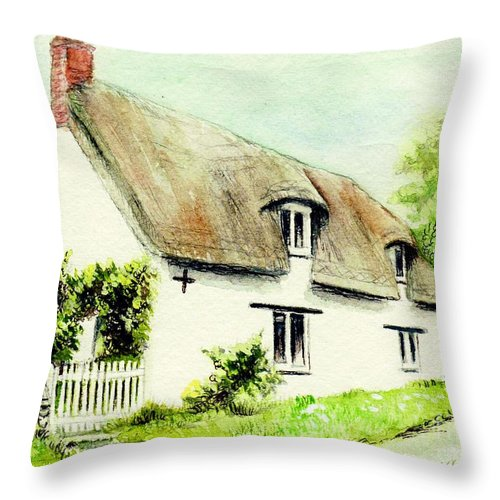 Country Throw Pillow featuring the painting Country Cottage England by Morgan Fitzsimons