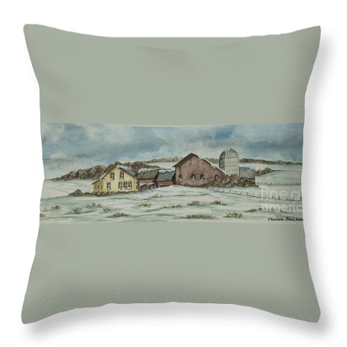 Winter Scene Paintings Throw Pillow featuring the painting Country Farm In Winter by Charlotte Blanchard