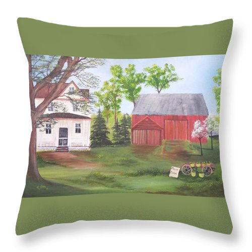 Landscape Throw Pillow featuring the painting Country Farm by Rich Fotia