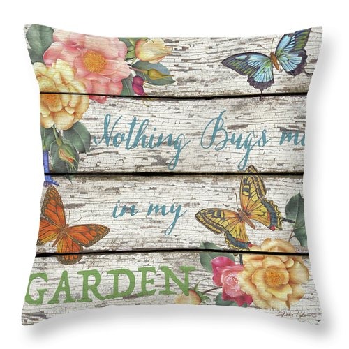 Floral Throw Pillow featuring the painting Country Garden Sign-a by Jean Plout