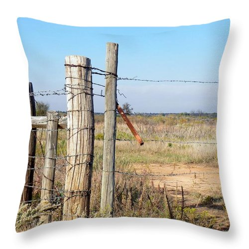 Gate Throw Pillow featuring the photograph Country Gate by Annie Adkins
