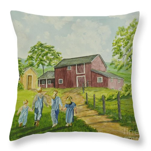 Country Kids Art Throw Pillow featuring the painting Country Kids by Charlotte Blanchard