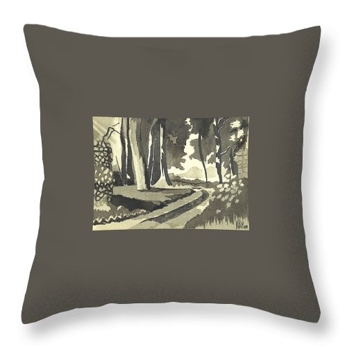 Rural Throw Pillow featuring the painting Country Lane In Evening Shadow by Kip DeVore