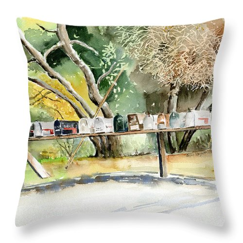 Mailboxes Throw Pillow featuring the painting Country Mailboxes by Suzanne Blender