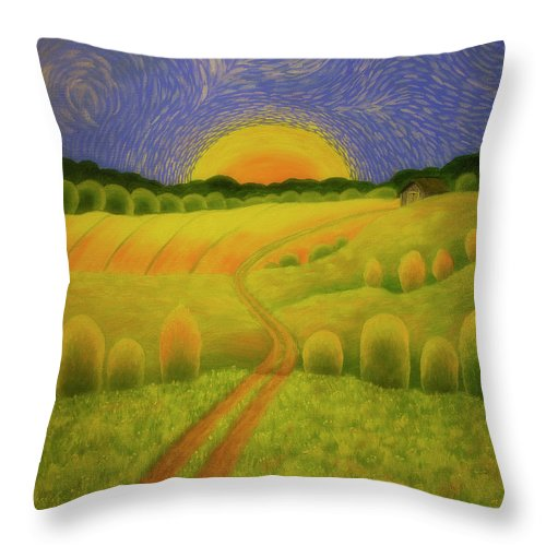 Art Throw Pillow featuring the painting Country Morning by Veikko Suikkanen