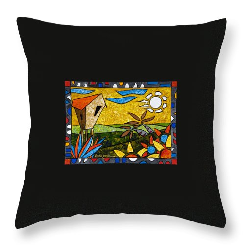 Puerto Rico Throw Pillow featuring the painting Country Peace by Oscar Ortiz