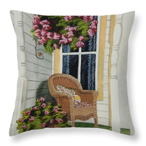 Country Porch Throw Pillow featuring the painting Country Porch by Charlotte Blanchard