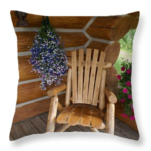 Country Porch Throw Pillow featuring the photograph Country Porch by Mary Ourada